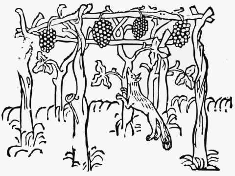 キツネとブドウのふさ イソップ...